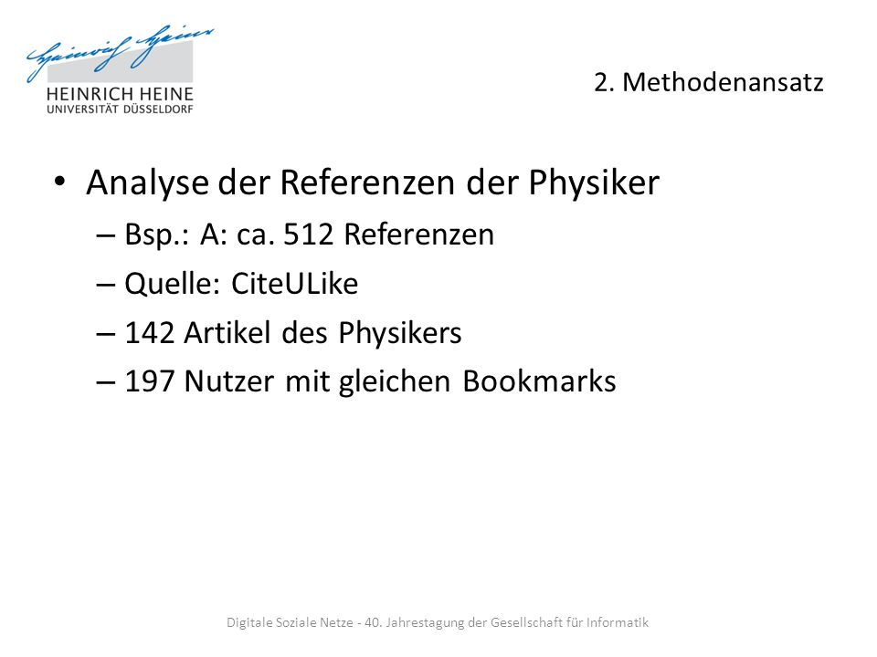 2. Methodenansatz Analyse der Referenzen der Physiker – Bsp.: A: ca.