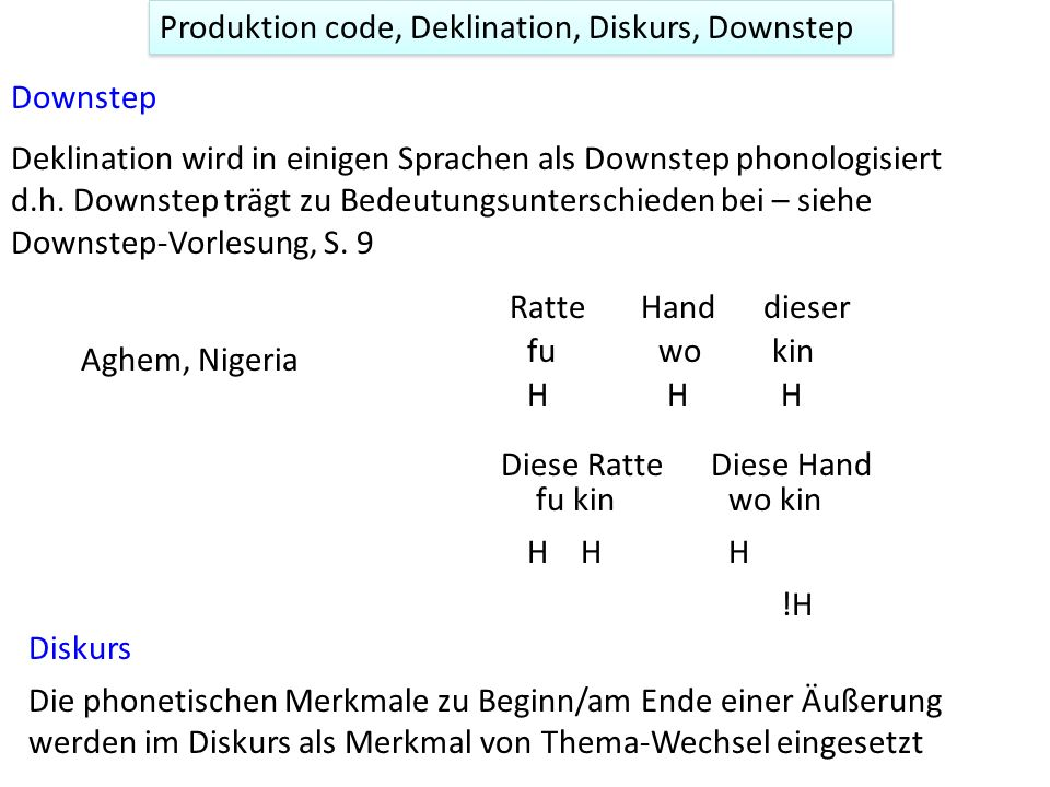 The Production (Phase) Code: Gussenhoven (2004) Production code: Der biologische Ursprung der hohen Grundfrequenz zu Beginn der Phrase ist der erhöhte subglottale Luftdruck.
