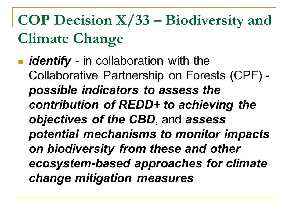 COP Decision X/33 – Biodiversity and Climate Change identify - in collaboration with the Collaborative Partnership on Forests (CPF) - possible indicators to assess the contribution of REDD+ to achieving the objectives of the CBD, and assess potential mechanisms to monitor impacts on biodiversity from these and other ecosystem-based approaches for climate change mitigation measures