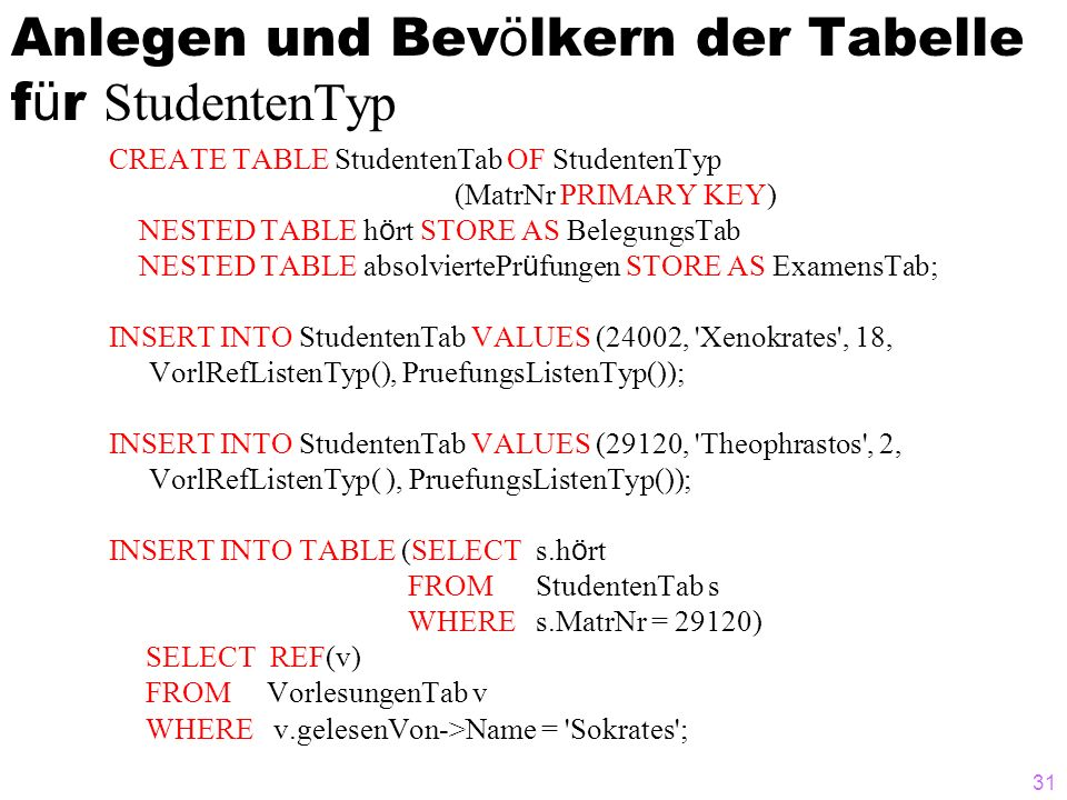 31 Anlegen und Bev ö lkern der Tabelle f ü r StudentenTyp CREATE TABLE StudentenTab OF StudentenTyp (MatrNr PRIMARY KEY) NESTED TABLE h ö rt STORE AS BelegungsTab NESTED TABLE absolviertePr ü fungen STORE AS ExamensTab; INSERT INTO StudentenTab VALUES (24002, Xenokrates , 18, VorlRefListenTyp(), PruefungsListenTyp()); INSERT INTO StudentenTab VALUES (29120, Theophrastos , 2, VorlRefListenTyp( ), PruefungsListenTyp()); INSERT INTO TABLE (SELECT s.h ö rt FROM StudentenTab s WHERE s.MatrNr = 29120) SELECT REF(v) FROM VorlesungenTab v WHERE v.gelesenVon->Name = Sokrates ;