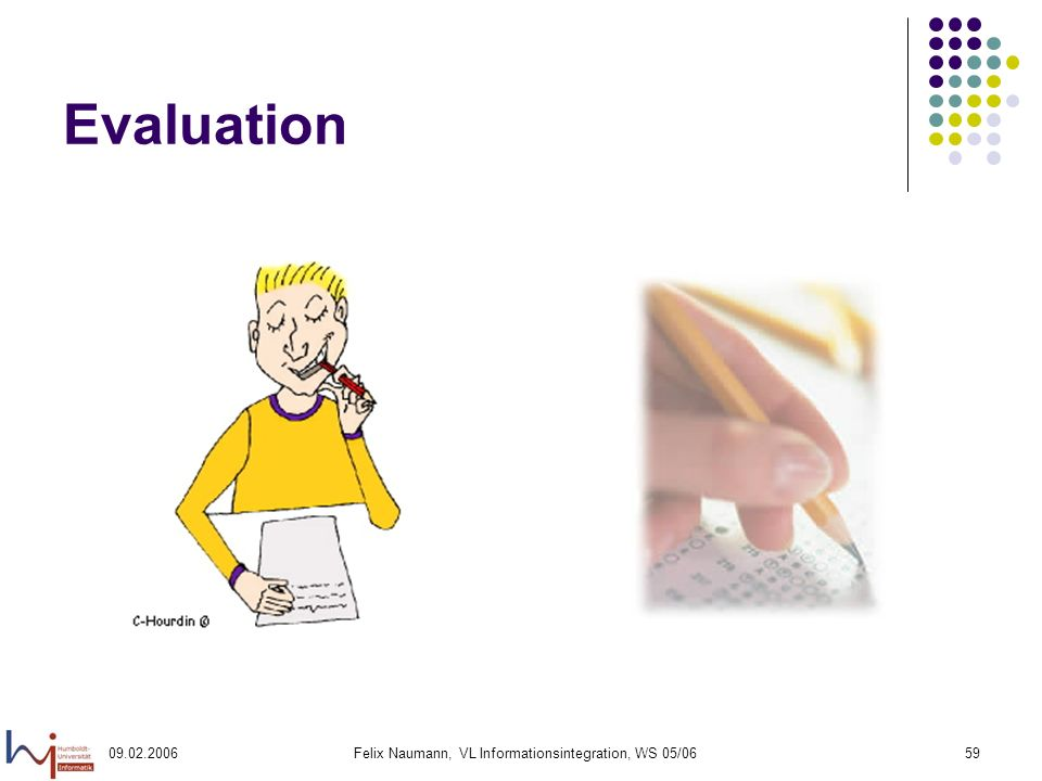 Felix Naumann, VL Informationsintegration, WS 05/0659 Evaluation