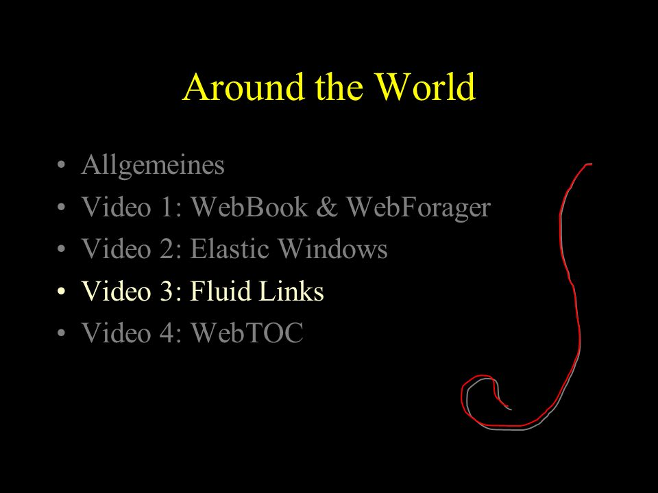 Around the World Allgemeines Video 1: WebBook & WebForager Video 2: Elastic Windows Video 3: Fluid Links Video 4: WebTOC