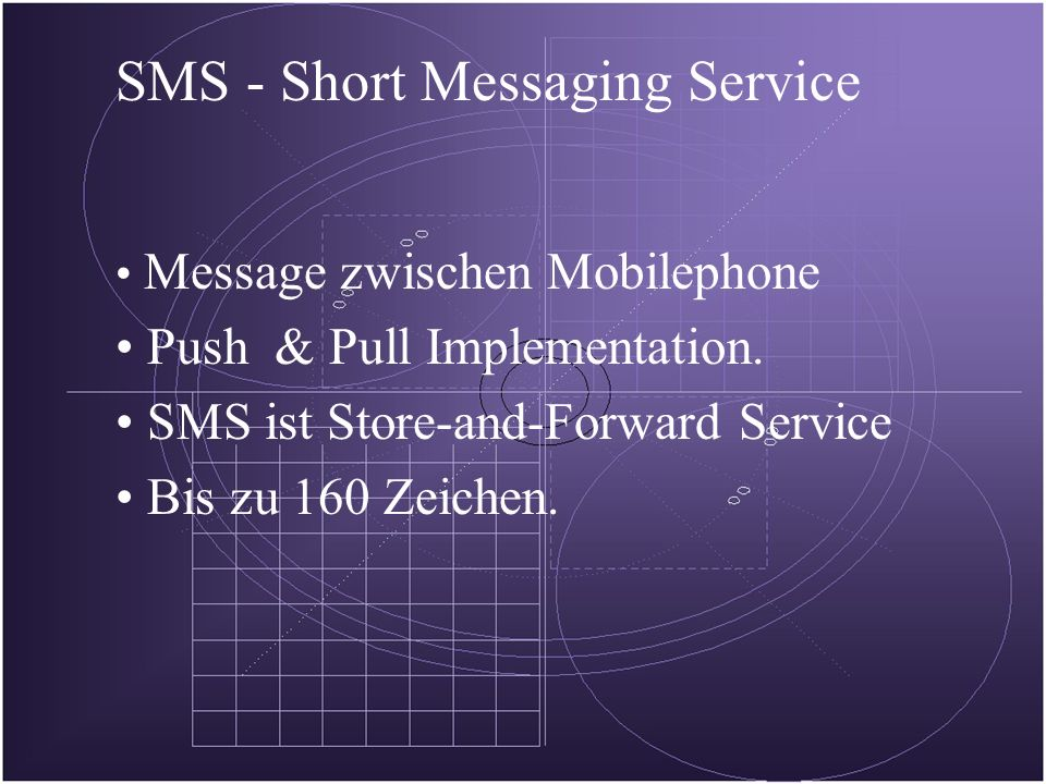 SMS - Short Messaging Service Message zwischen Mobilephone Push & Pull Implementation.
