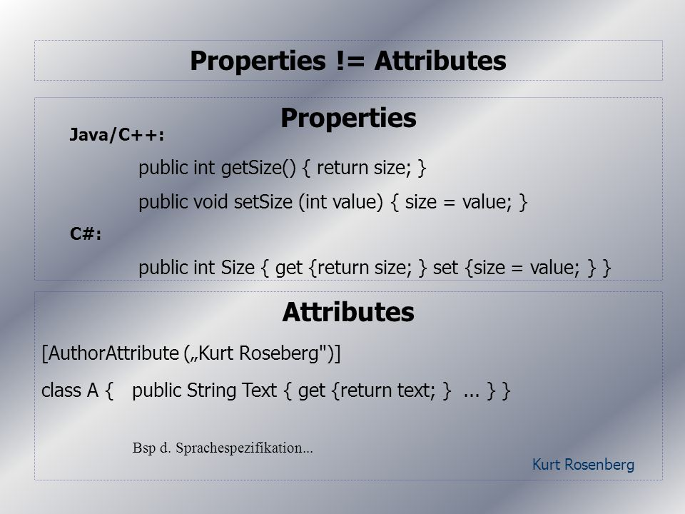 Kurt Rosenberg Properties Properties != Attributes Attributes [AuthorAttribute (Kurt Roseberg )] class A { public String Text { get {return text; }...