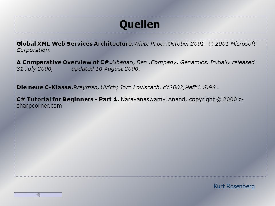 Kurt Rosenberg Global XML Web Services Architecture.White Paper.October 2001.