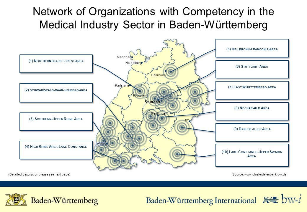 Network of Organizations with Competency in the Medical Industry Sector in Baden-Württemberg Source:   Karlsruhe Freiburg Ulm Pforzheim Heilbronn Heidelberg Mannheim (3) S OUTHERN -U PPER R HINE A REA (6) S TUTTGART A REA (7) E AST WÜ RTTEMBERG A REA (9) D ANUBE - ILLER A REA (2) SCHWARZWALD - BAAR - HEUBERG AREA (5) H EILBRONN -F RANCONIA A REA (4) H IGH R HINE A REA -L AKE C ONSTANCE (Detailed description please see next page) Stuttgart (1) N ORTHERN BLACK FOREST AREA Reutlingen (8) N ECKAR -A LB A REA (10) L AKE C ONSTANCE -U PPER S WABIA A REA