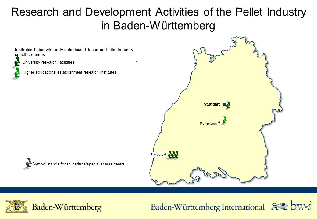 Research and Development Activities of the Pellet Industry in Baden-Württemberg Institutes listed with only a dedicated focus on Pellet industry specific themes University research faciltities4 Higher educational establishment research institutes1 Symbol stands for an institute/specialist area/centre Freiburg Stuttgart Rottenburg