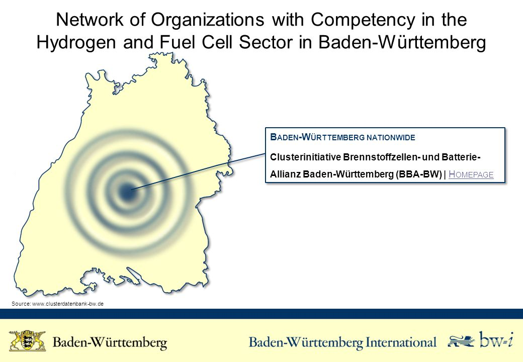 Network of Organizations with Competency in the Hydrogen and Fuel Cell Sector in Baden-Württemberg B ADEN -W ÜRTTEMBERG NATIONWIDE Clusterinitiative Brennstoffzellen- und Batterie- Allianz Baden-Württemberg (BBA-BW) | H OMEPAGEH OMEPAGE B ADEN -W ÜRTTEMBERG NATIONWIDE Clusterinitiative Brennstoffzellen- und Batterie- Allianz Baden-Württemberg (BBA-BW) | H OMEPAGEH OMEPAGE Source: