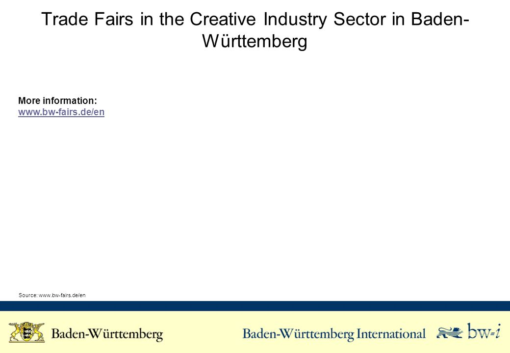 Trade Fairs in the Creative Industry Sector in Baden- Württemberg More information:   Source: