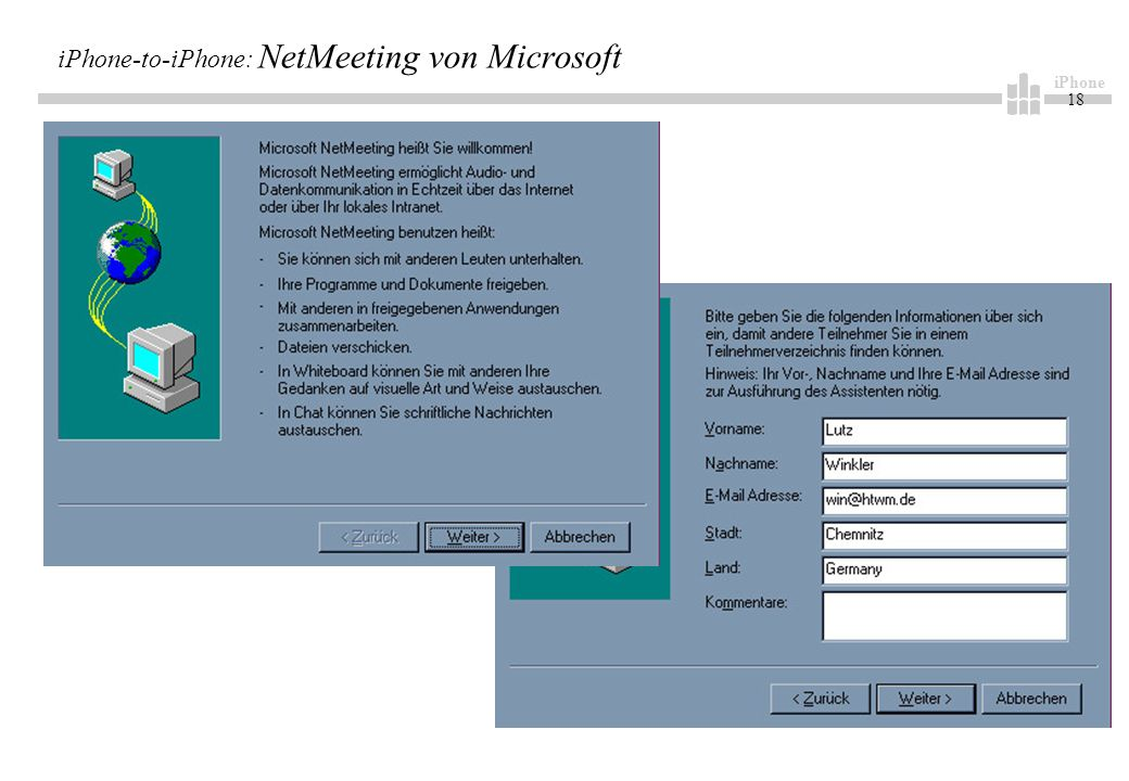 iPhone 18 iPhone-to-iPhone: NetMeeting von Microsoft