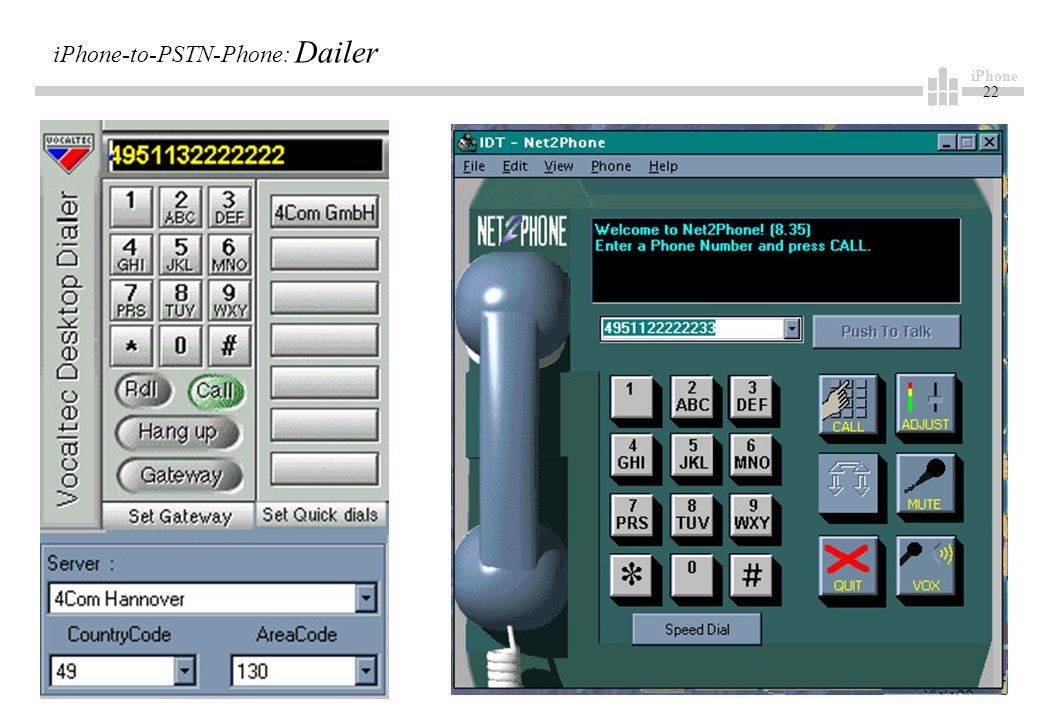 iPhone 22 iPhone-to-PSTN-Phone: Dailer