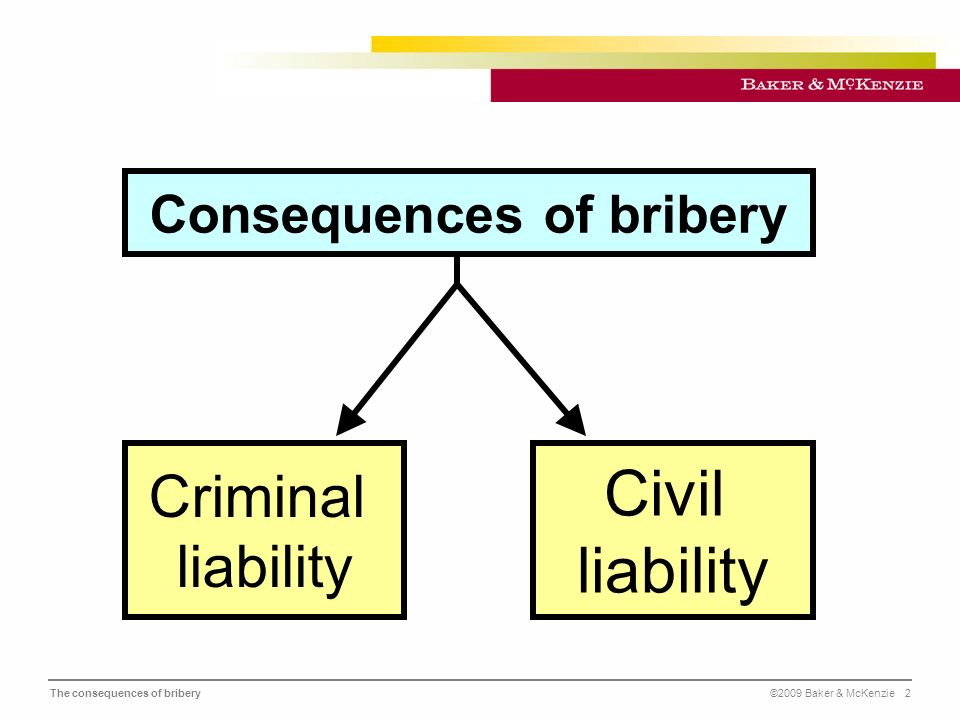 The consequences of bribery©2009 Baker & McKenzie 2 Consequences of bribery Criminal liability Civil liability