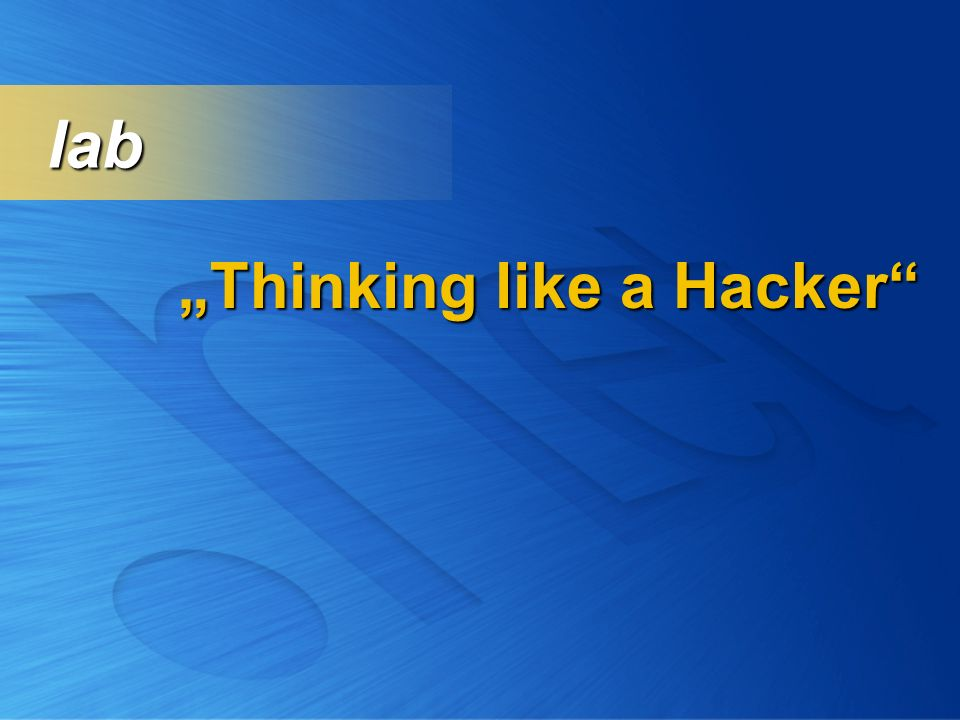 Thinking like a Hacker lab lab