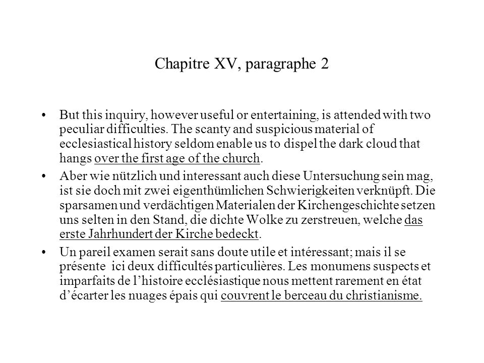 Chapitre XV, paragraphe 2 But this inquiry, however useful or entertaining, is attended with two peculiar difficulties.