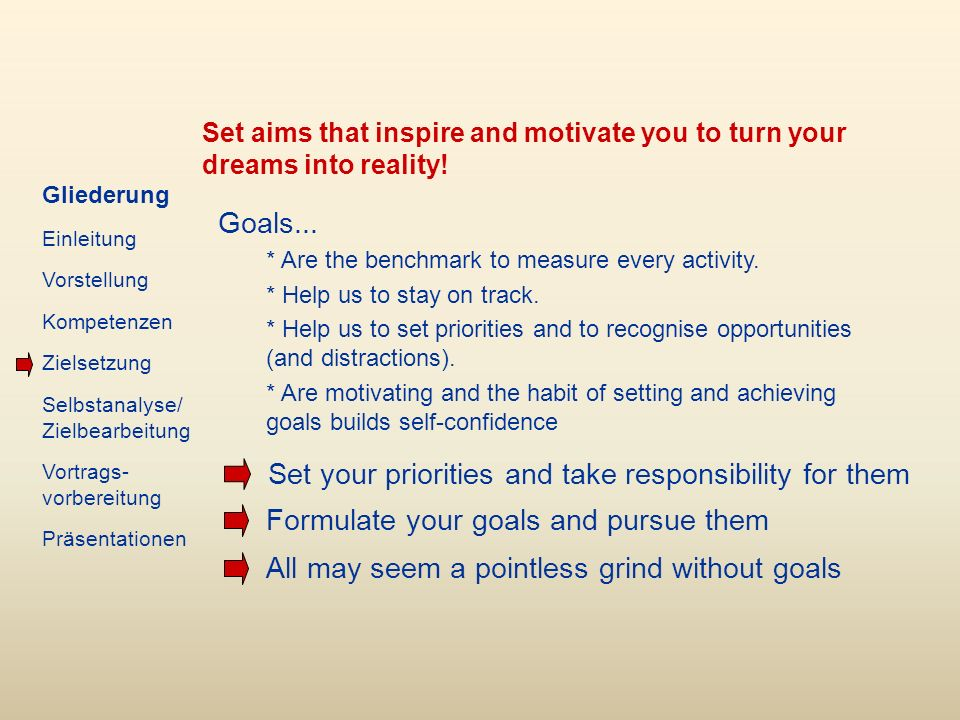 Set aims that inspire and motivate you to turn your dreams into reality.