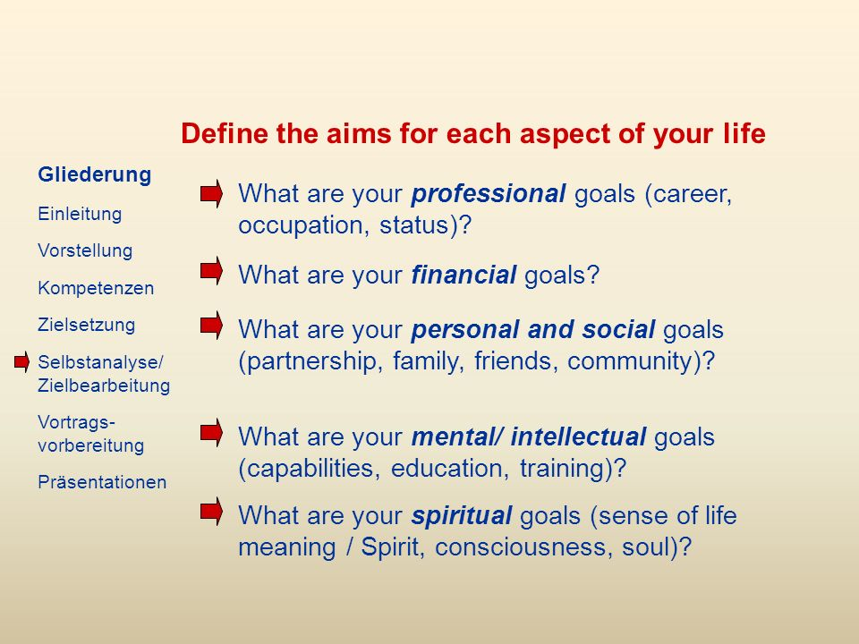 Define the aims for each aspect of your life What are your professional goals (career, occupation, status).