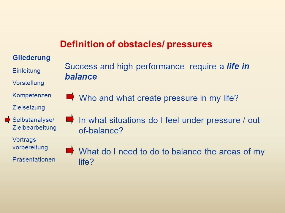 Definition of obstacles/ pressures Success and high performance require a life in balance Who and what create pressure in my life.