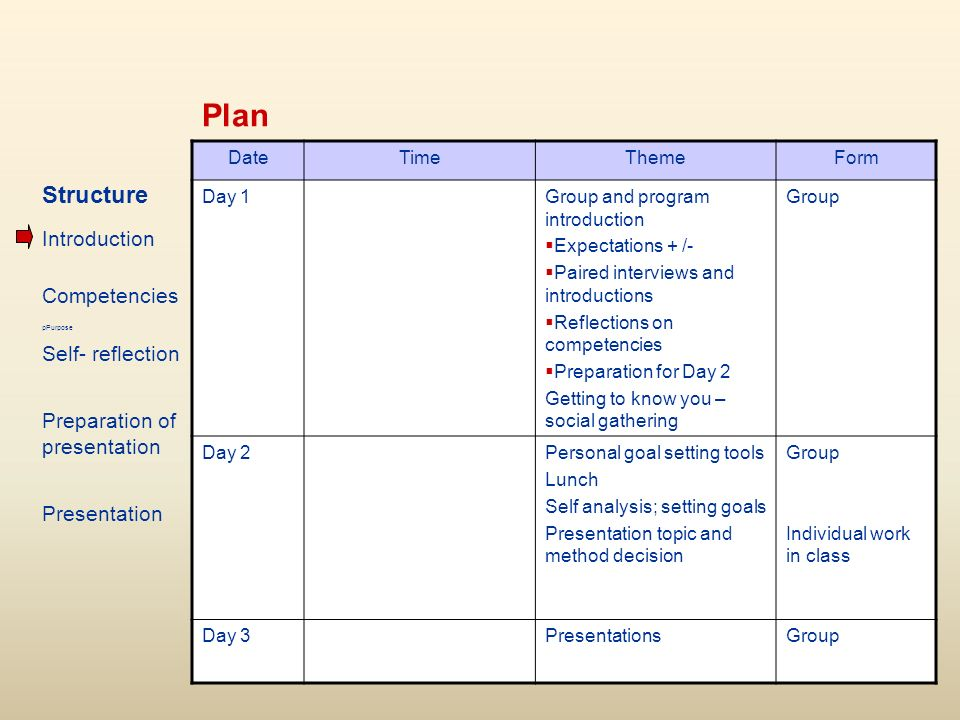 Plan DateTimeThemeForm Day 1Group and program introduction Expectations + /- Paired interviews and introductions Reflections on competencies Preparation for Day 2 Getting to know you – social gathering Group Day 2Personal goal setting tools Lunch Self analysis; setting goals Presentation topic and method decision Group Individual work in class Day 3PresentationsGroup Structure Introduction Competencies pPurpose Self- reflection Preparation of presentation Presentation