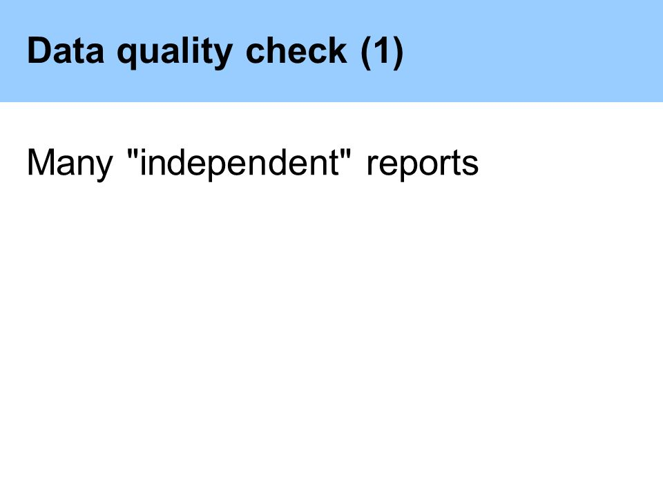 Data quality check (1) Many independent reports