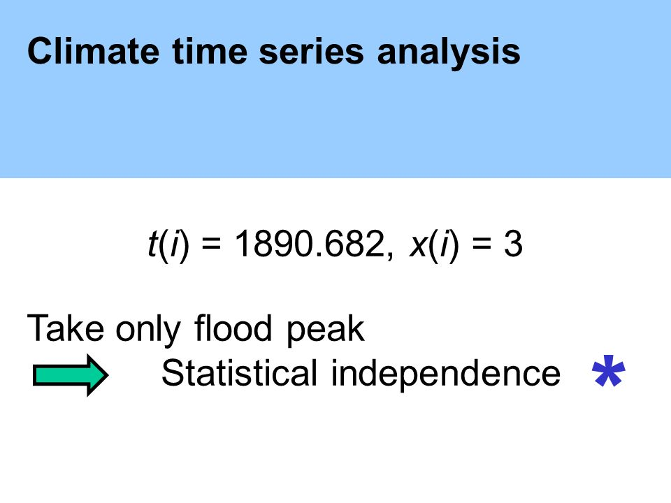 Climate time series analysis t(i) = , x(i) = 3 Take only flood peak Statistical independence *