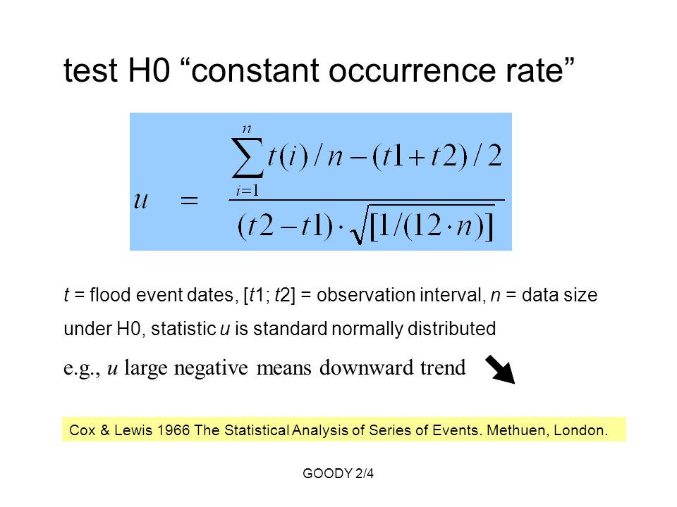 GOODY 2/4 test H0 constant occurrence rate t = flood event dates, [t1; t2] = observation interval, n = data size under H0, statistic u is standard normally distributed e.g., u large negative means downward trend Cox & Lewis 1966 The Statistical Analysis of Series of Events.