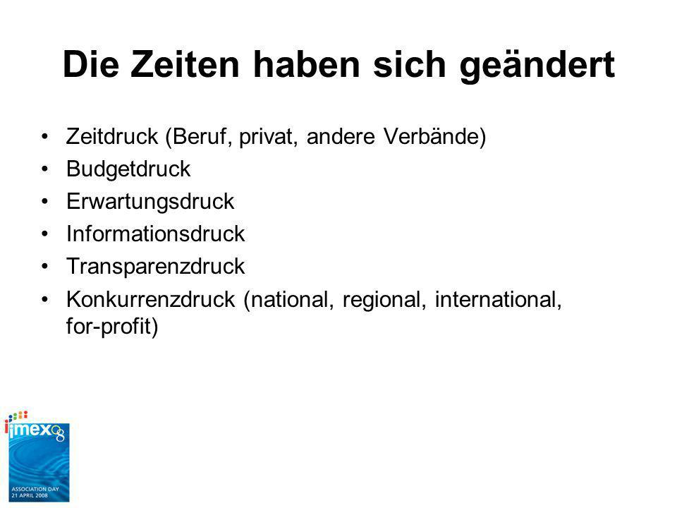 Die Zeiten haben sich geändert Zeitdruck (Beruf, privat, andere Verbände) Budgetdruck Erwartungsdruck Informationsdruck Transparenzdruck Konkurrenzdruck (national, regional, international, for-profit)