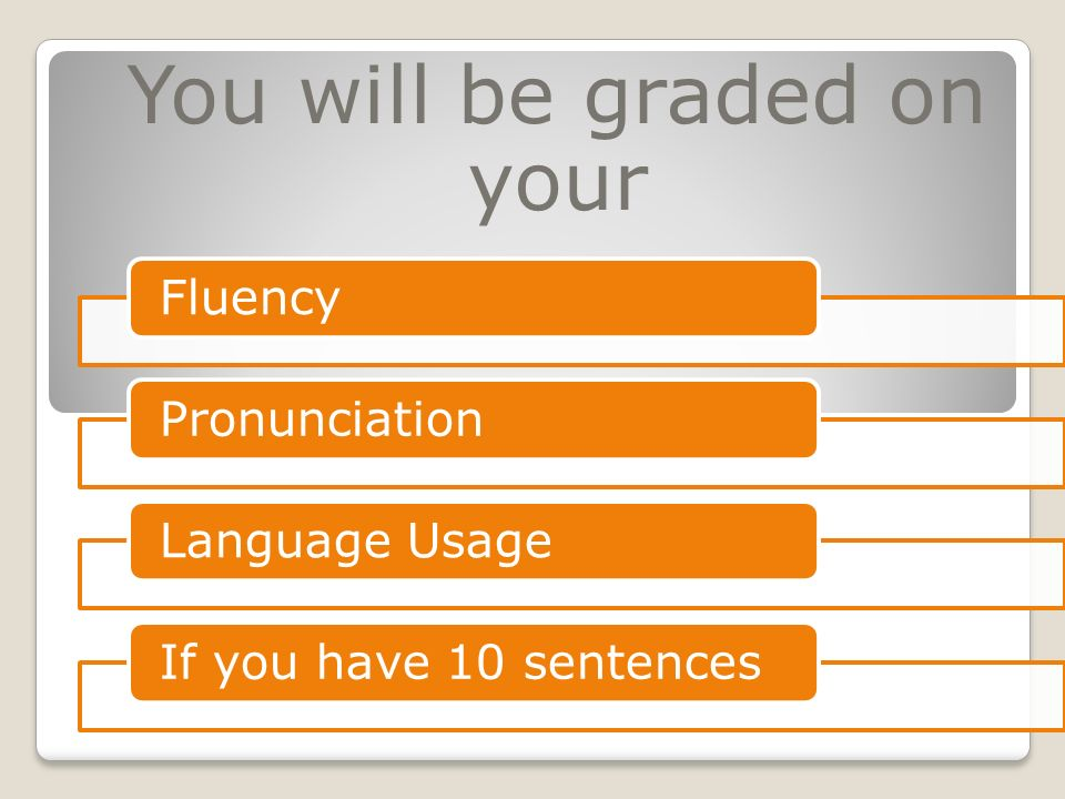 You will be graded on your FluencyPronunciationLanguage UsageIf you have 10 sentences