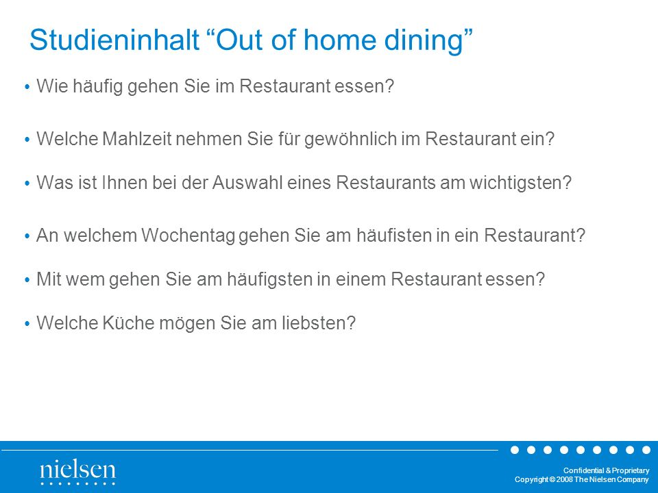 Confidential & Proprietary Copyright © 2008 The Nielsen Company Studieninhalt Out of home dining Wie häufig gehen Sie im Restaurant essen.