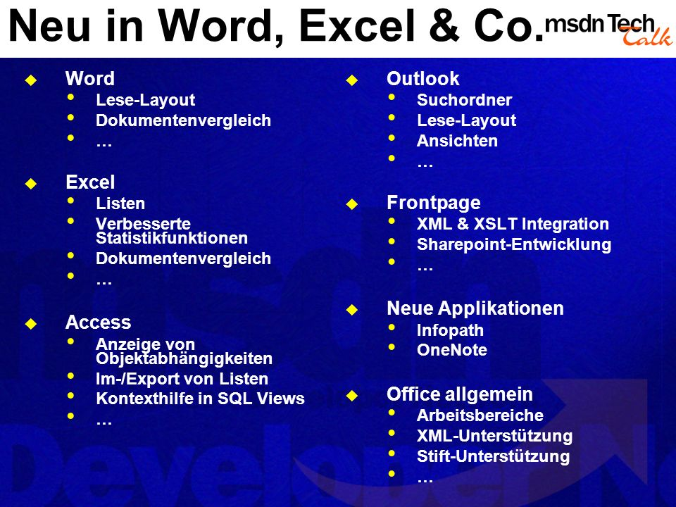 Neu in Word, Excel & Co.