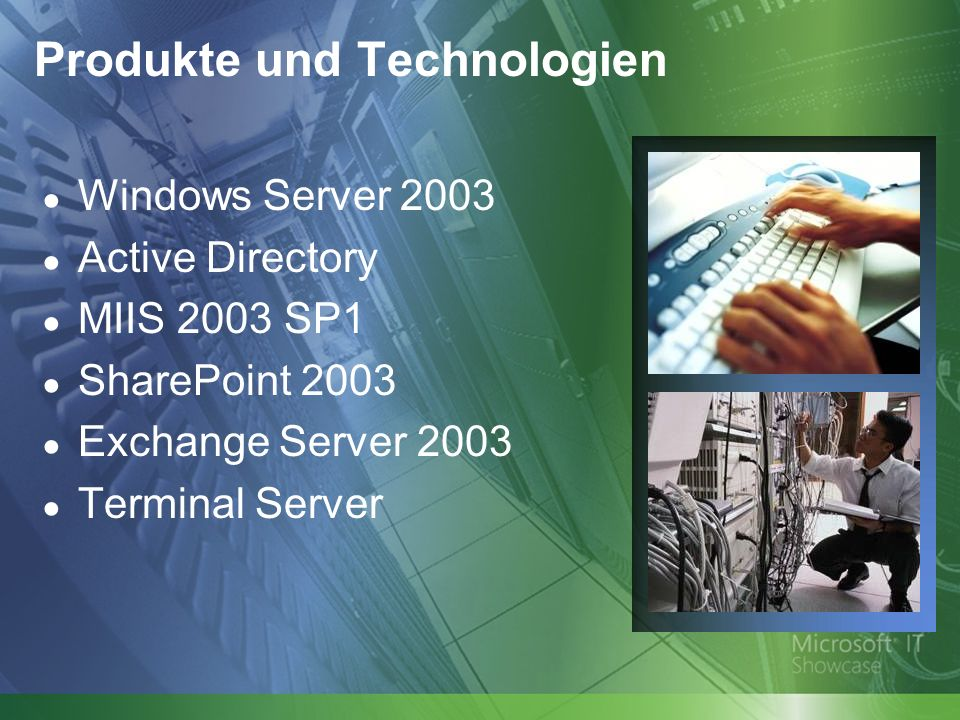 Produkte und Technologien Windows Server 2003 Active Directory MIIS 2003 SP1 SharePoint 2003 Exchange Server 2003 Terminal Server