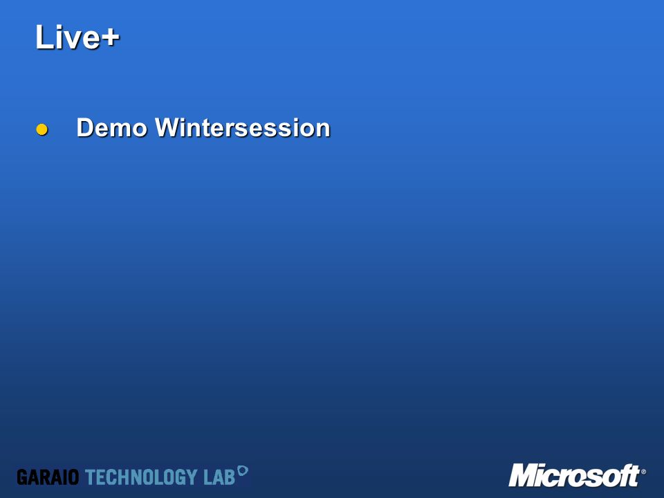 Live+ Demo Wintersession Demo Wintersession