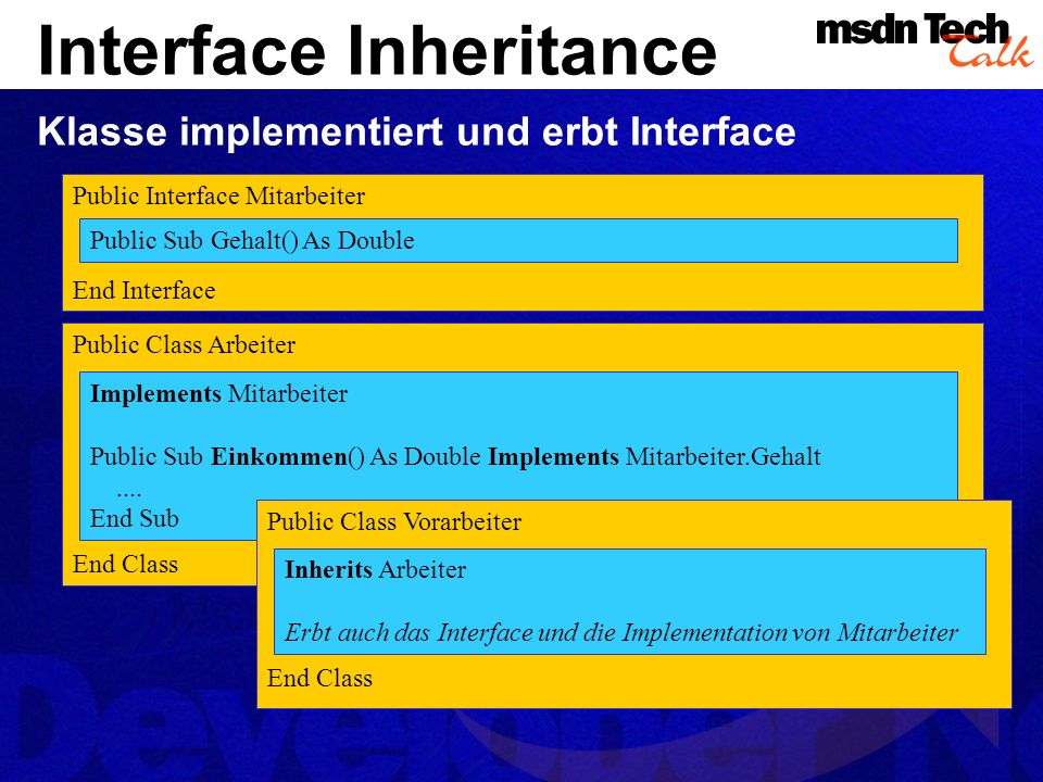 Interface Inheritance Klasse implementiert und erbt Interface Public Class Arbeiter End Class Implements Mitarbeiter Public Sub Einkommen() As Double Implements Mitarbeiter.Gehalt....