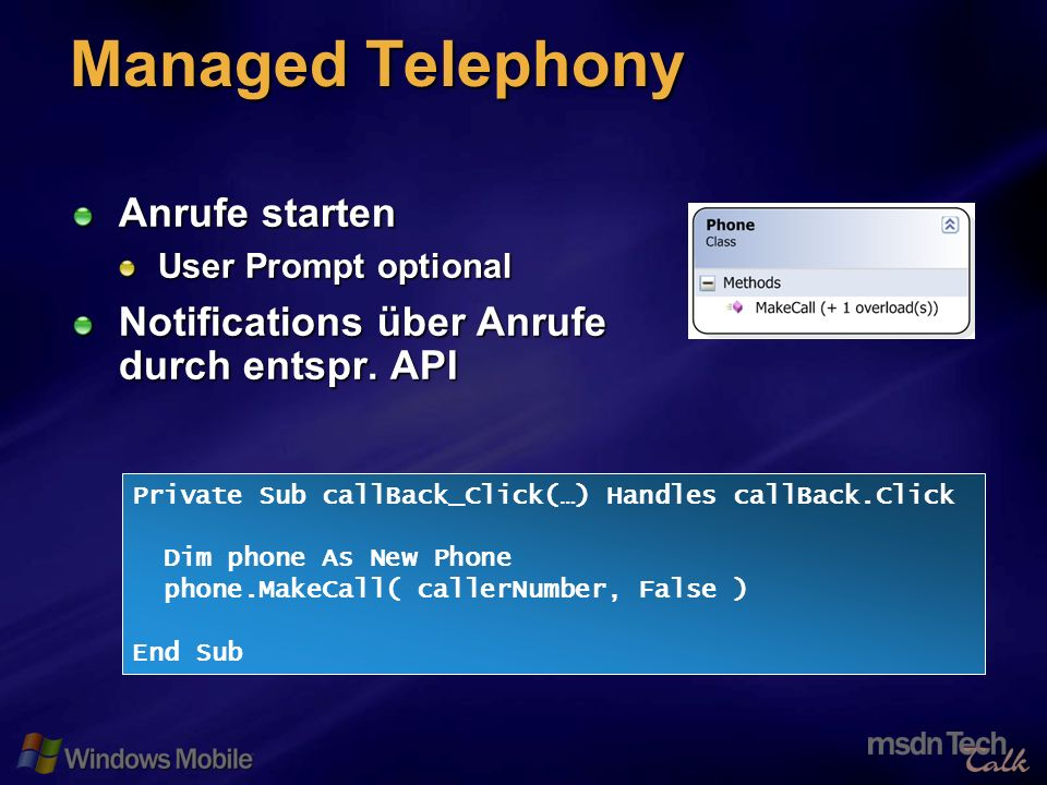 63 Managed Telephony Anrufe starten User Prompt optional Notifications über Anrufe durch entspr.