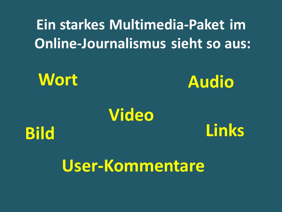 Ein starkes Multimedia-Paket im Online-Journalismus sieht so aus: Wort Bild Video Audio User-Kommentare Links