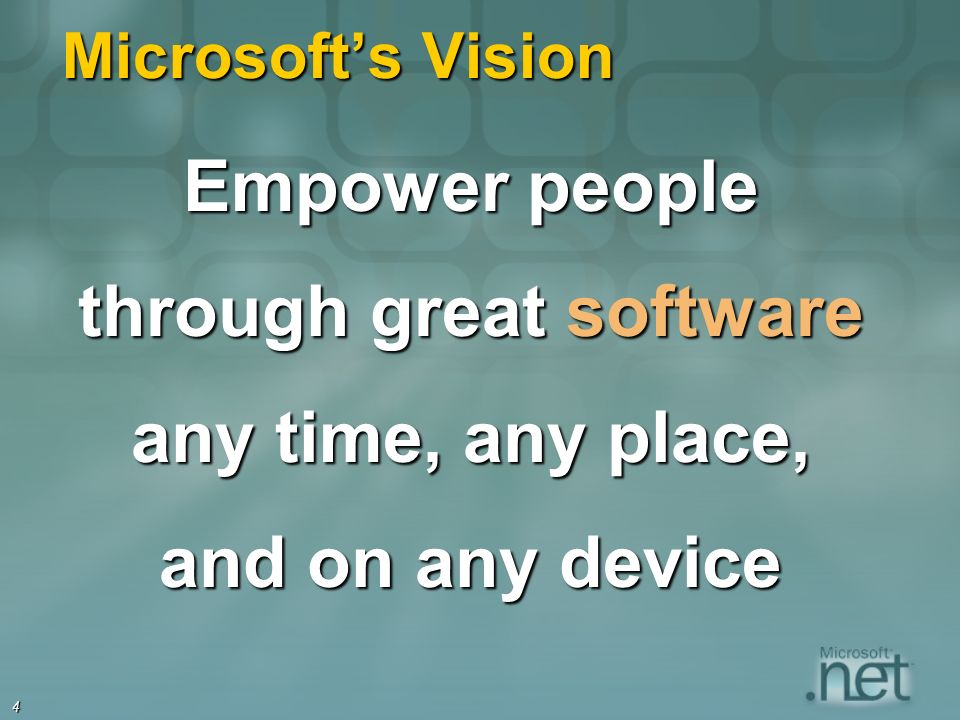 4 Microsofts Vision Empower people through great software any time, any place, and on any device