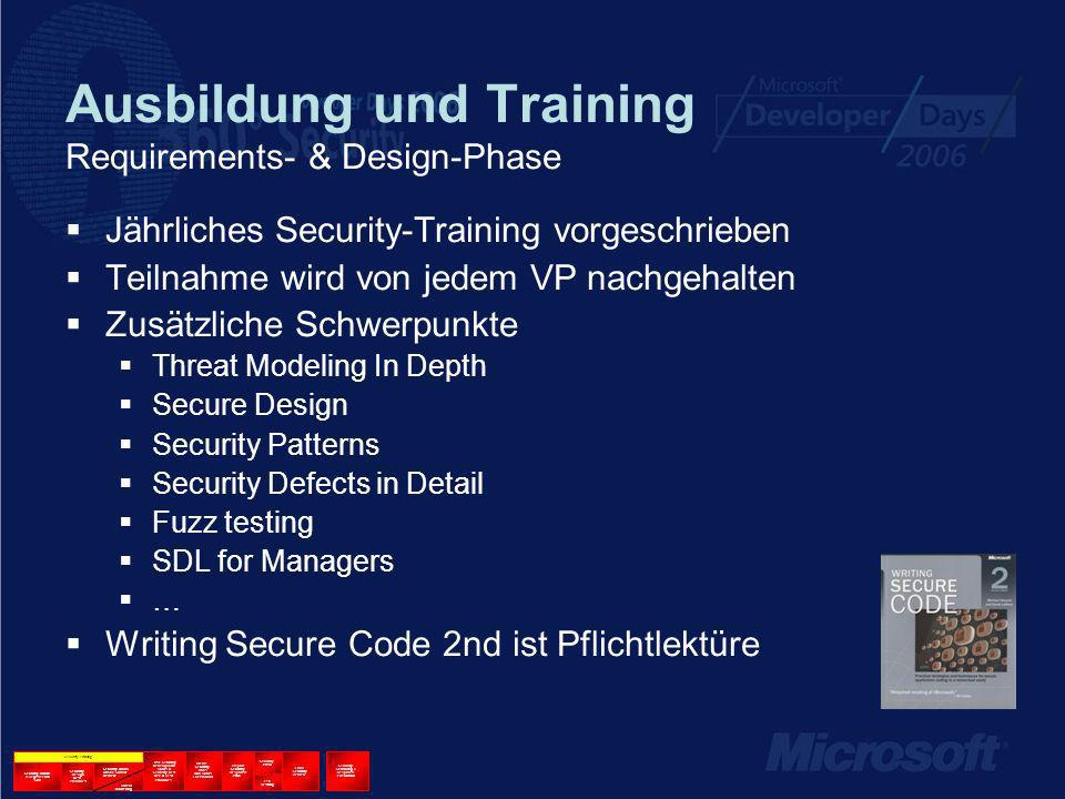 Ausbildung und Training Requirements- & Design-Phase Jährliches Security-Training vorgeschrieben Teilnahme wird von jedem VP nachgehalten Zusätzliche Schwerpunkte Threat Modeling In Depth Secure Design Security Patterns Security Defects in Detail Fuzz testing SDL for Managers … Writing Secure Code 2nd ist Pflichtlektüre Security Training Security Kickoff & Register with SWI Security Design Best Practices Security Arch & Attack Surface Review Use Security Development Tools & Security Best Dev & Test Practices Create Security Docs and Tools For Product Prepare Security Response Plan Security Push Pen Testing Final Security Review Security Servicing & Response Execution Threat Modeling