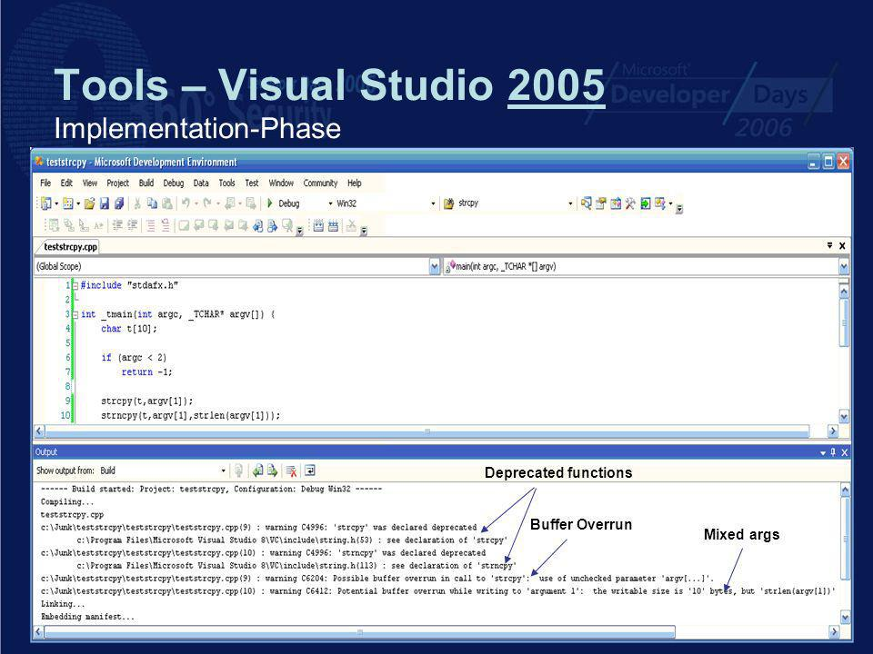 Tools – Visual Studio 2005 Implementation-Phase Deprecated functions Buffer Overrun Mixed args