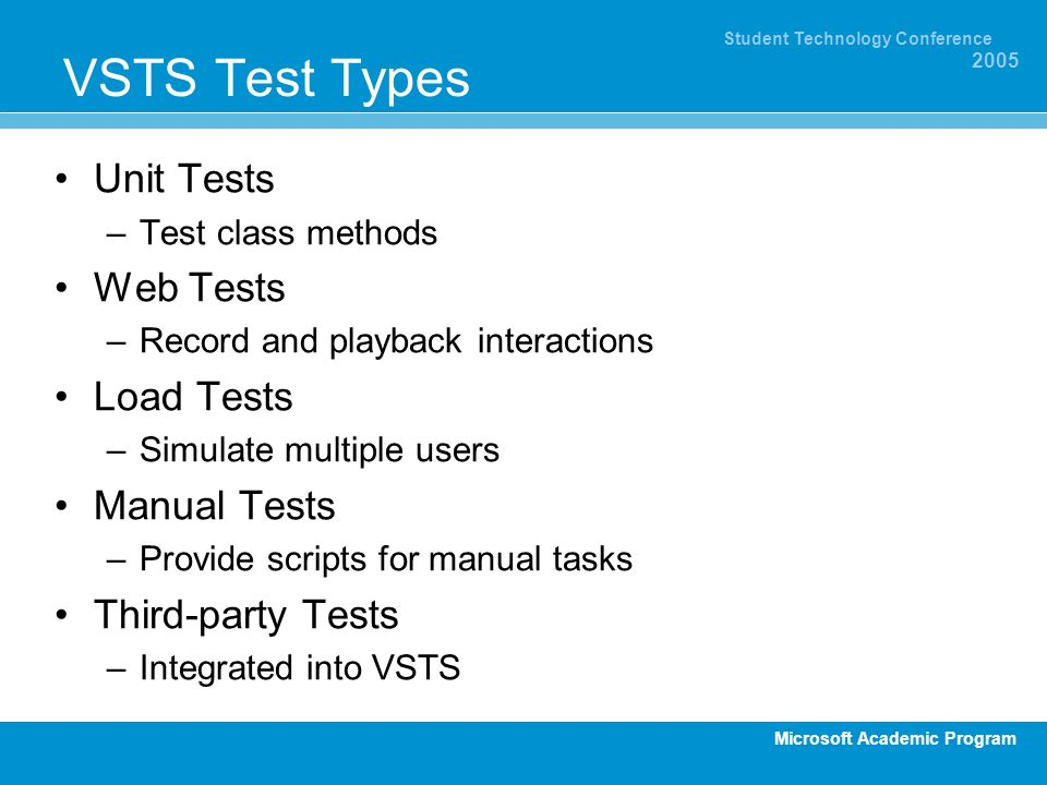 Microsoft Academic Program Student Technology Conference 2005 VSTS Test Types Unit Tests –Test class methods Web Tests –Record and playback interactions Load Tests –Simulate multiple users Manual Tests –Provide scripts for manual tasks Third-party Tests –Integrated into VSTS