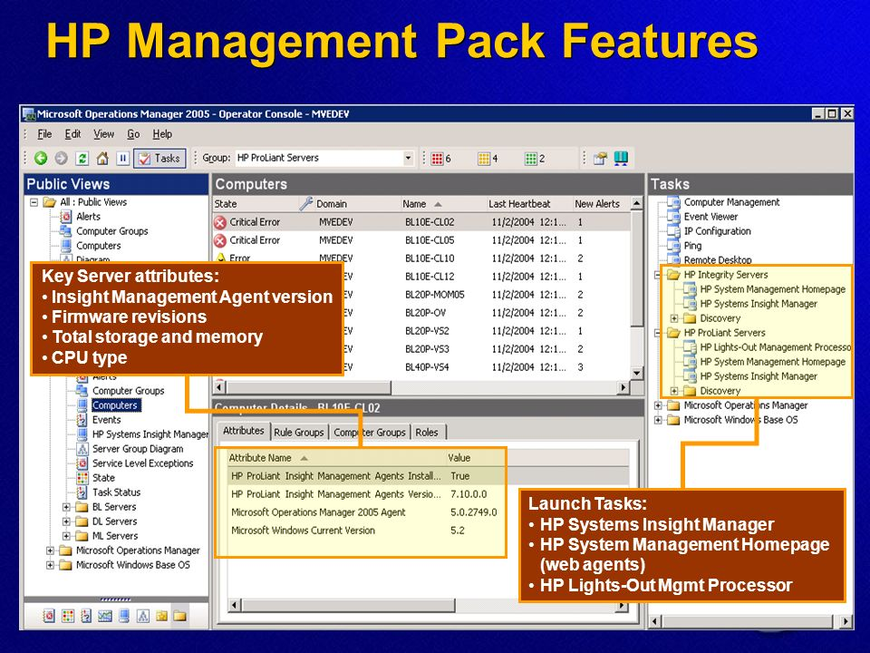 Launch Tasks: HP Systems Insight Manager HP System Management Homepage (web agents) HP Lights-Out Mgmt Processor Key Server attributes: Insight Management Agent version Firmware revisions Total storage and memory CPU type HP Management Pack Features
