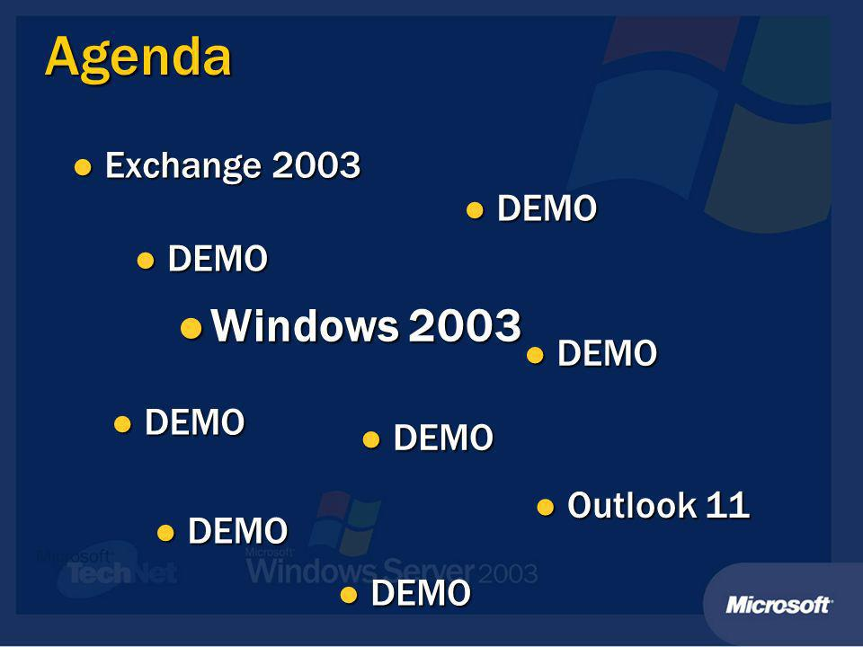 Agenda DEMO DEMO Windows 2003 Windows 2003 DEMO DEMO Outlook 11 Outlook 11 DEMO DEMO Exchange 2003 Exchange 2003