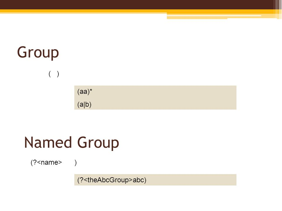 Group ( ) ( abc) Named Group (aa)* (a|b) ( )