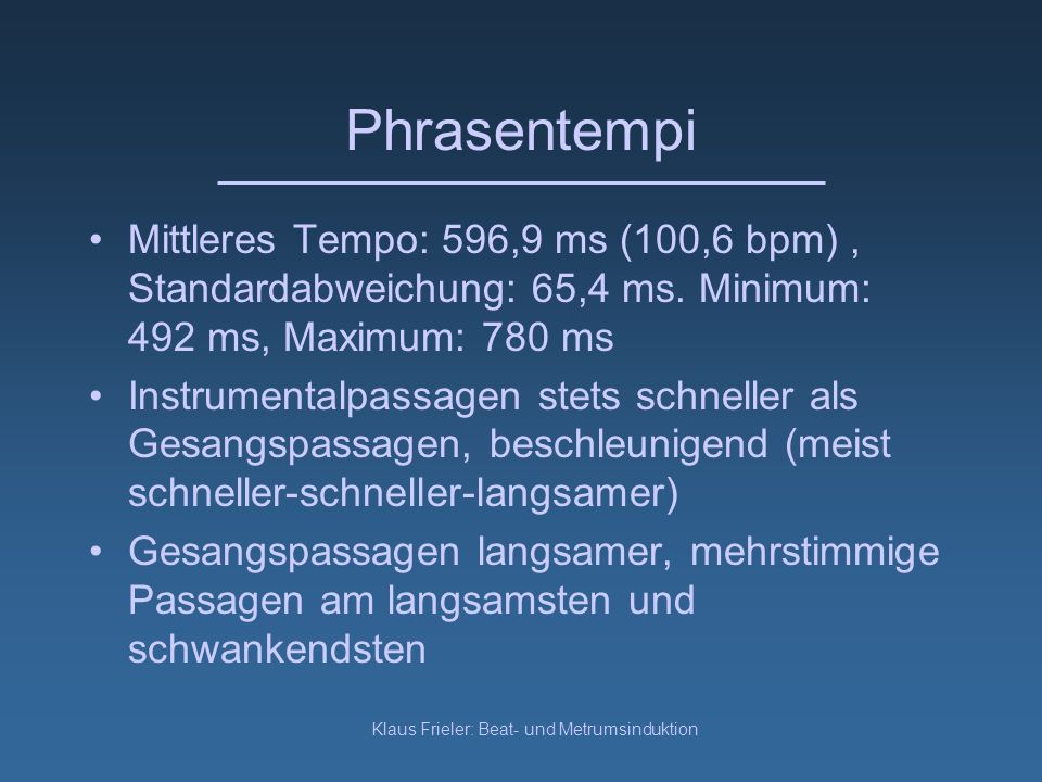Klaus Frieler: Beat- und Metrumsinduktion Phrasentempi