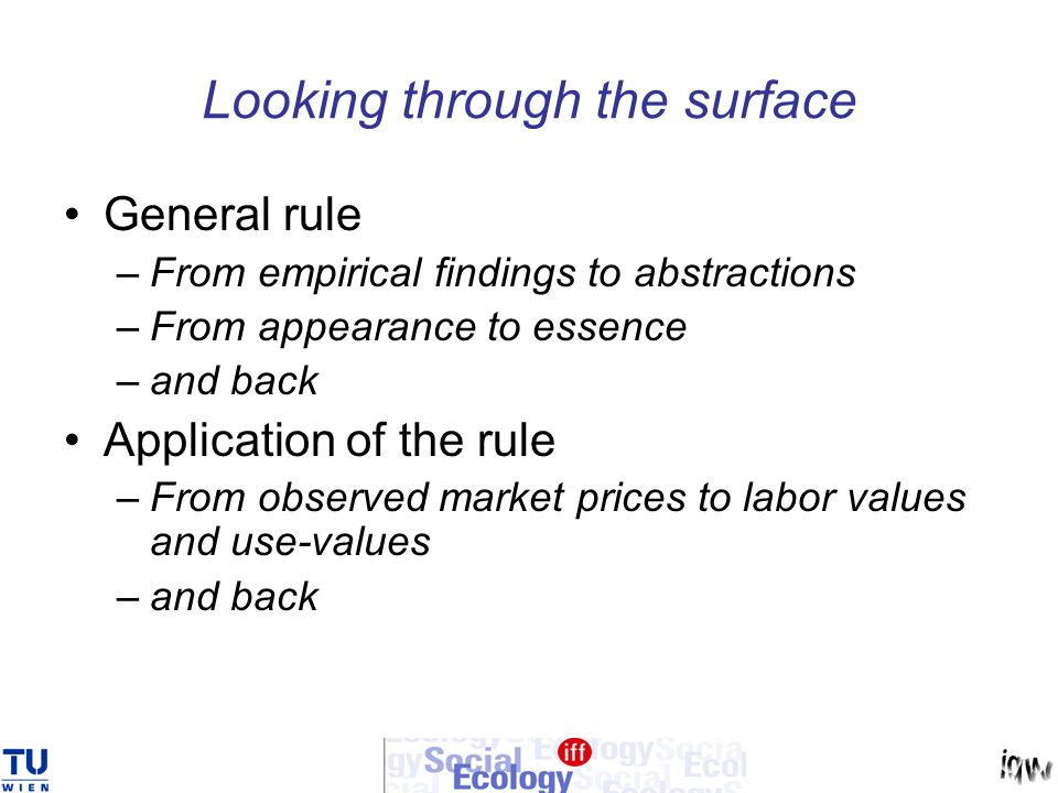 Looking through the surface General rule –From empirical findings to abstractions –From appearance to essence –and back Application of the rule –From observed market prices to labor values and use-values –and back