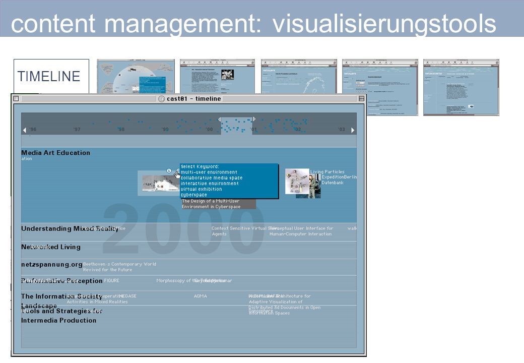 content management: visualisierungstools TIMELINE