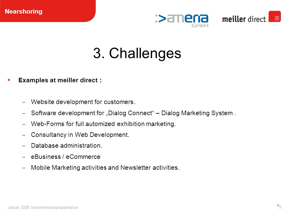 Januar 2008 Unternehmenspräsentation *9*9 Examples at meiller direct : Website development for customers.