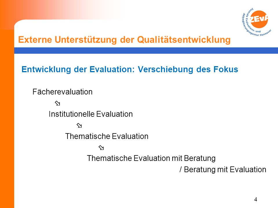 4 Externe Unterstützung der Qualitätsentwicklung Entwicklung der Evaluation: Verschiebung des Fokus Fächerevaluation Institutionelle Evaluation Thematische Evaluation Thematische Evaluation mit Beratung / Beratung mit Evaluation