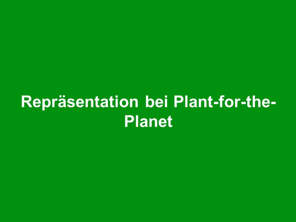 Repräsentation bei Plant-for-the- Planet