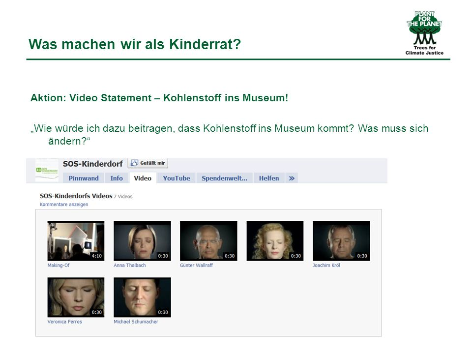 Was machen wir als Kinderrat. Aktion: Video Statement – Kohlenstoff ins Museum.