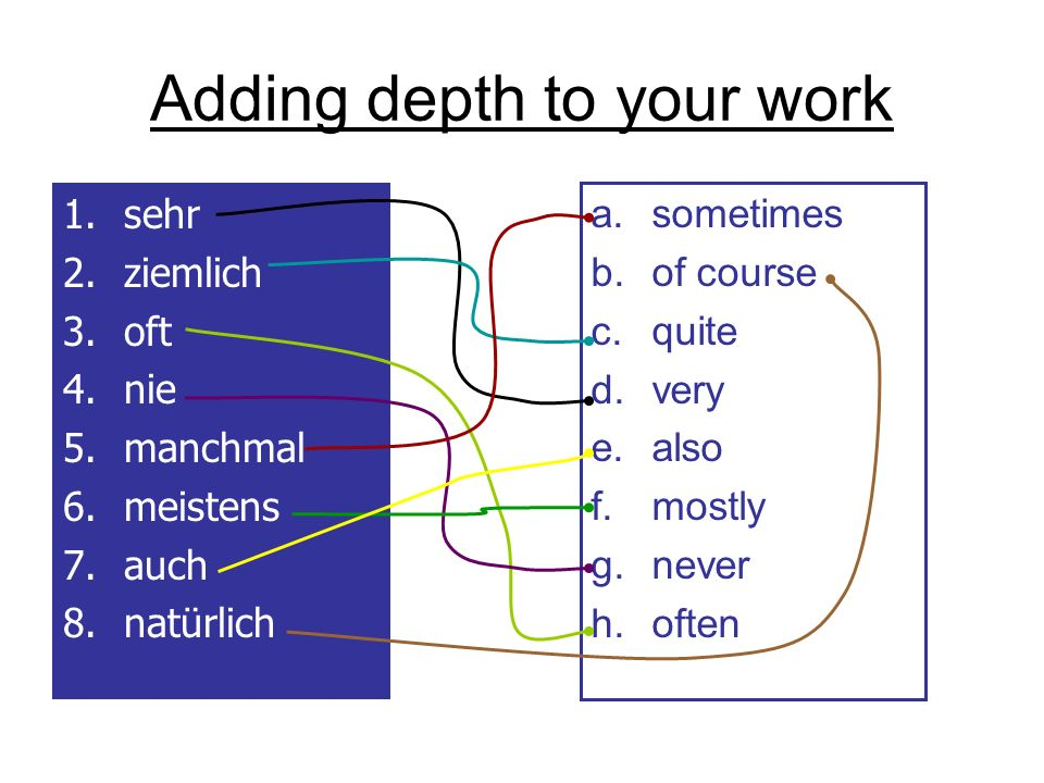 Adding depth to your work 1.sehr 2.ziemlich 3.oft 4.nie 5.manchmal 6.meistens 7.auch 8.natürlich a.sometimes b.of course c.quite d.very e.also f.mostly g.never h.often