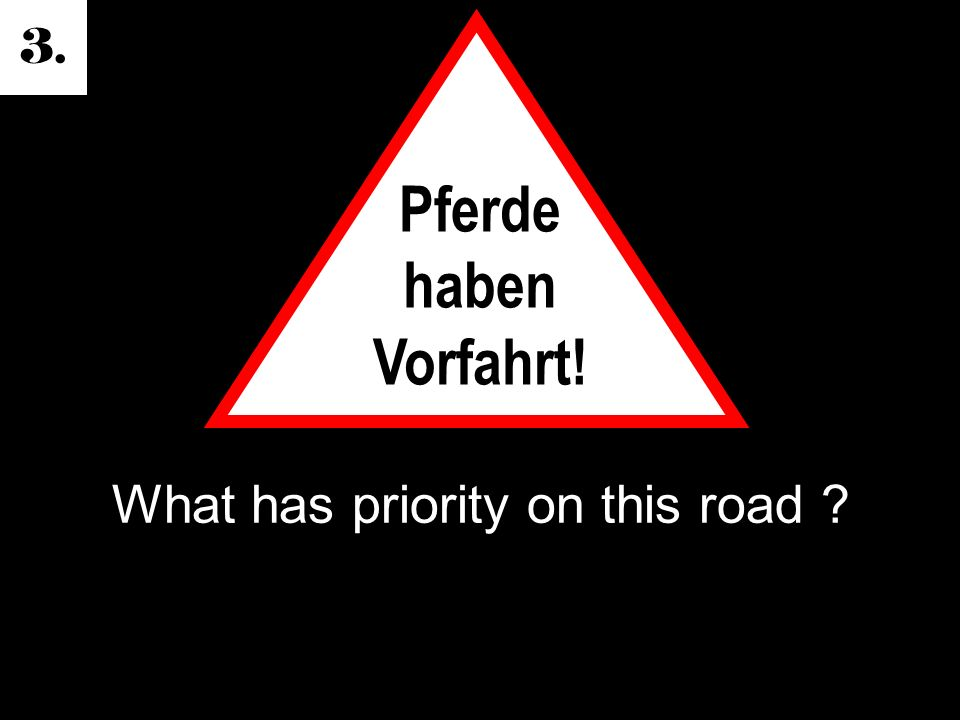 3. What has priority on this road Pferde haben Vorfahrt!